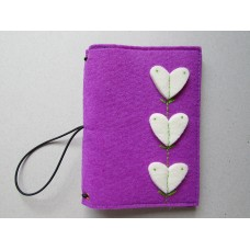 Purple Felt cover with three white heart design