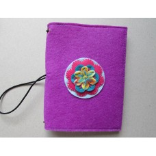 Purple Felt Cover with coloured flower design