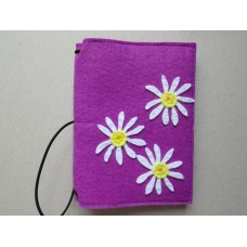 Purple felt cover with a daisy design