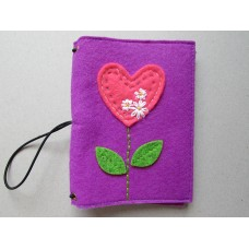 Purple Felt Cover with a heart flower design