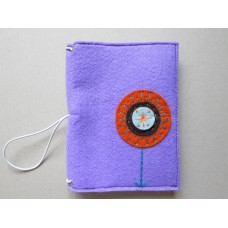 Lilac cover with an orange flower design