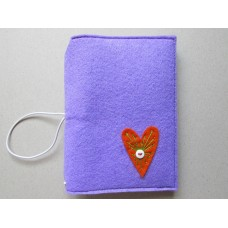 Lilac cover with an orange heart design