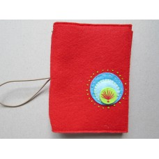 Red felt cover with blue retro circles